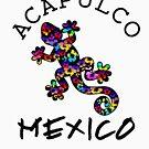 ACAPULCO MEXICO LIZARD GECKO TROPICAL HIBISCUS FLOWER COLORFUL RAINBOW TROPICAL BEACH  by MyHandmadeSigns