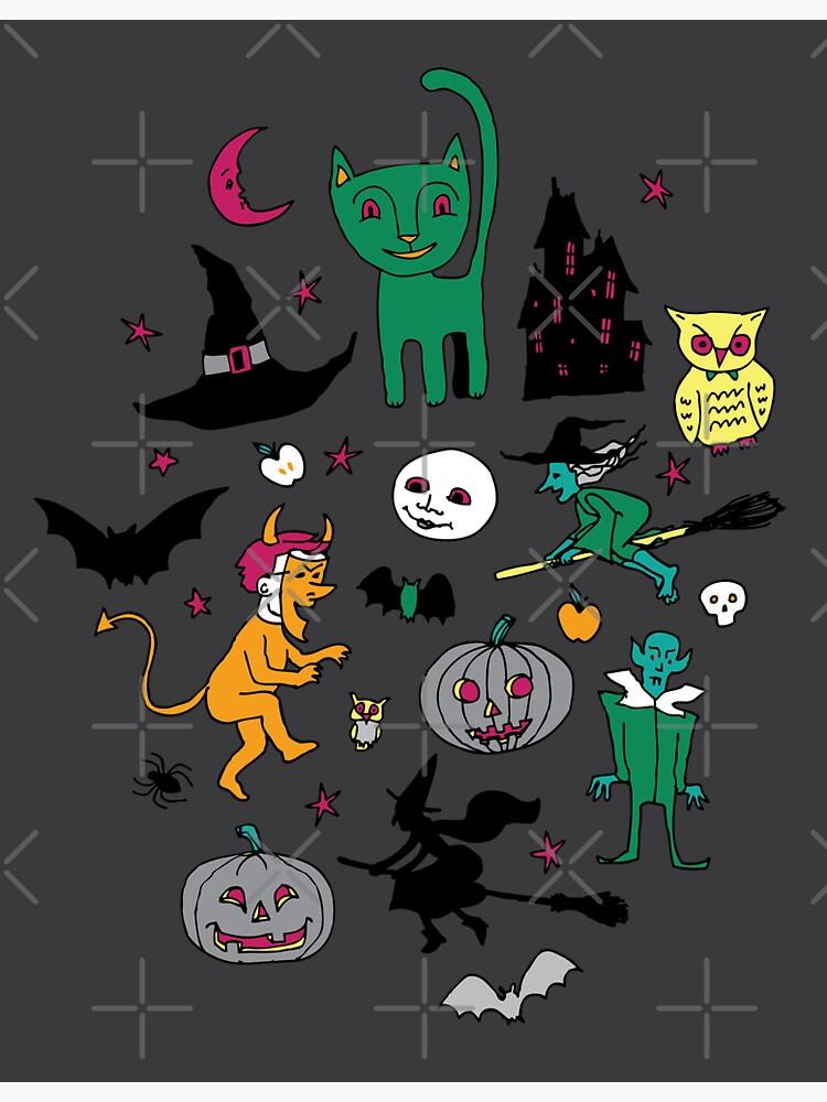 Retro Halloween - on grey - Halloween pattern by Cecca Designs by Cecca-Designs
