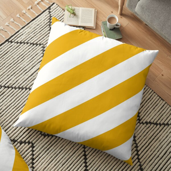 Golden Yellow and White Diagonal Stripe Pattern 2022 Trending Color - Colour - Hue - Shade Pantone Daylily 15-0956 Floor Pillow