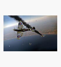 303 Squadron Spitfires in Channel dogfight Photographic Print