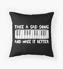 Hey Jude  White Title Throw Pillow