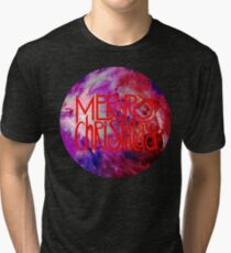 Merry Christmas nebula galaxy Tri-blend T-Shirt