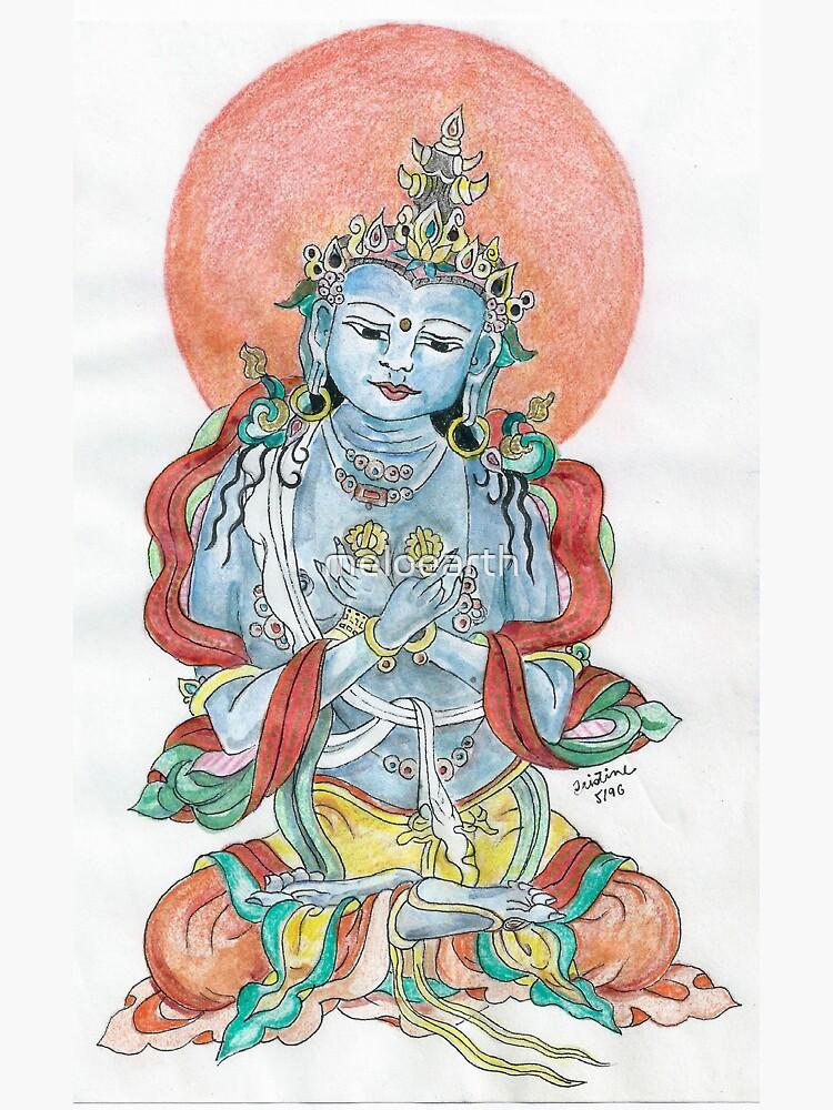 Sitting Buddha in Mindfulness Meditation Meloearth by meloearth