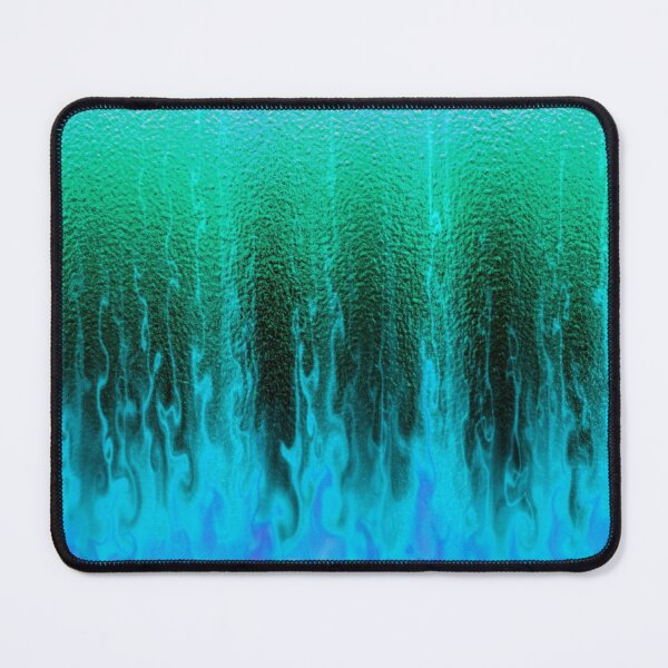 Blue green fire flames Mouse Pad