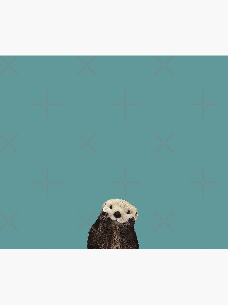 Cute Sea Otter on Teal Solid. Minimalist. Coastal. Adorable. by kierkegaard