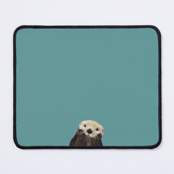 Netter Seeotter auf blaugrünem Feststoff. Minimalistisch. Küsten. Bezaubernd. Mauspad