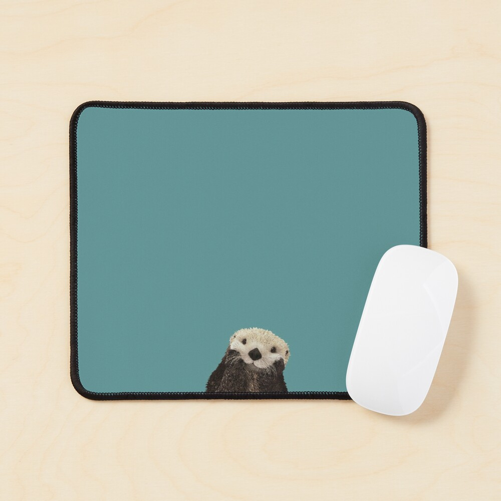 Cute Sea Otter on Teal Solid. Minimalist. Coastal. Adorable. Mouse Pad