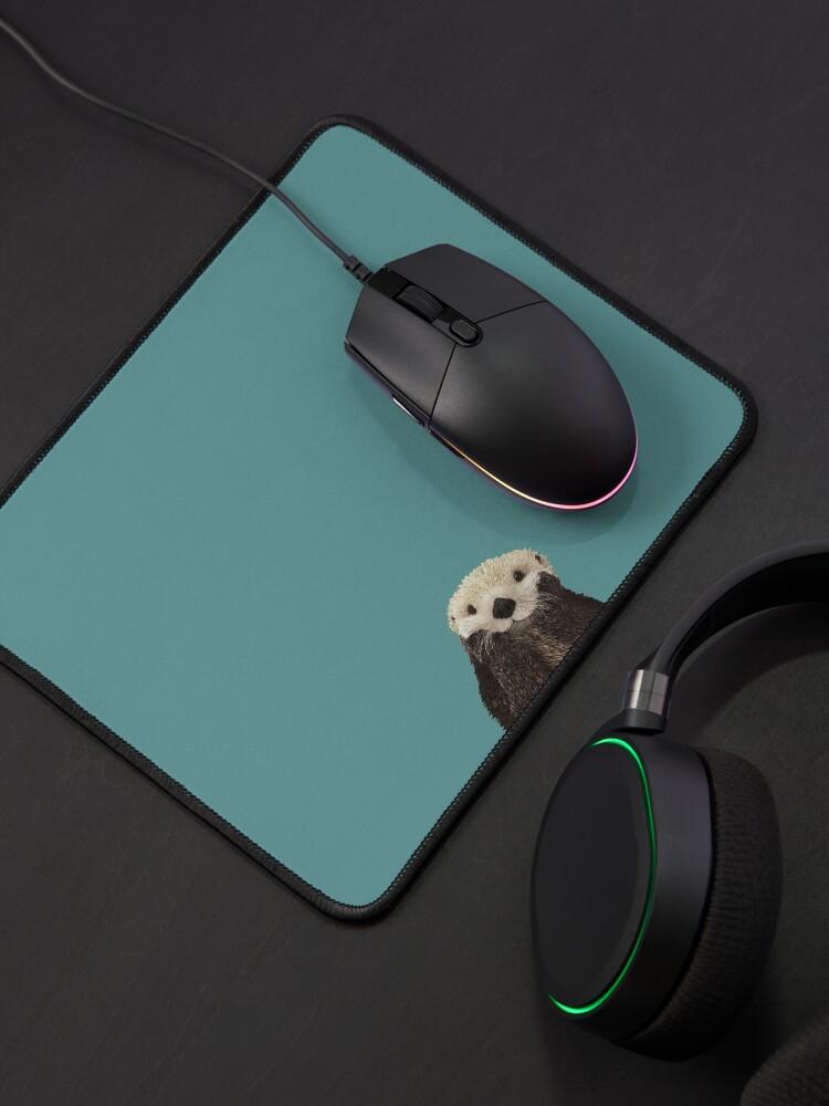 Alternate view of Cute Sea Otter on Teal Solid. Minimalist. Coastal. Adorable. Mouse Pad