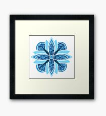 Blue Abstract Flower Framed Print