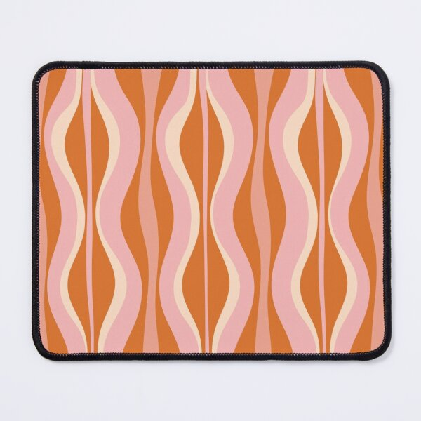 Hourglass Mid-Century Modern Abstract Pattern Pink Orange Cream Mouse Pad