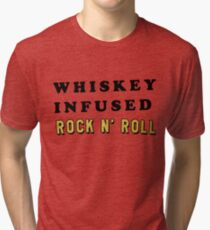 ROCK N' ROLL AND WHISKY | TRENDY TEXT QUOTE ONLY PRINT Tri-blend T-Shirt