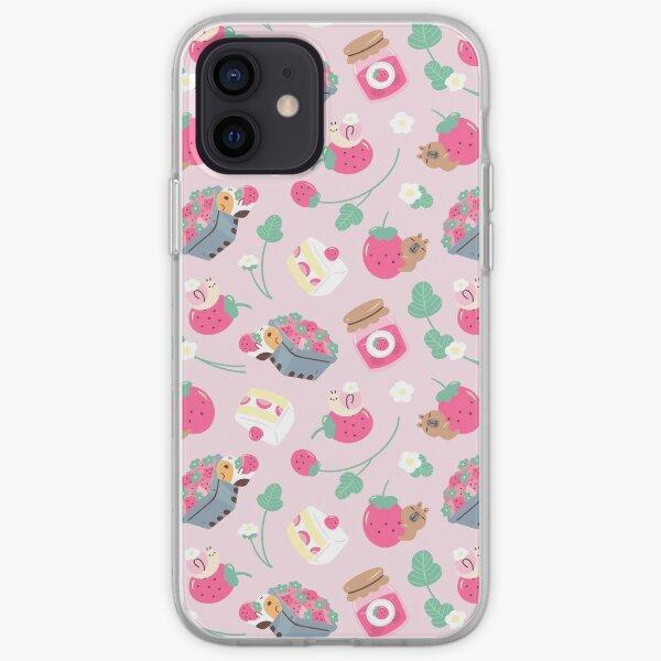 Bubu and Moonch Strawberry Season Pattern iPhone Soft Case