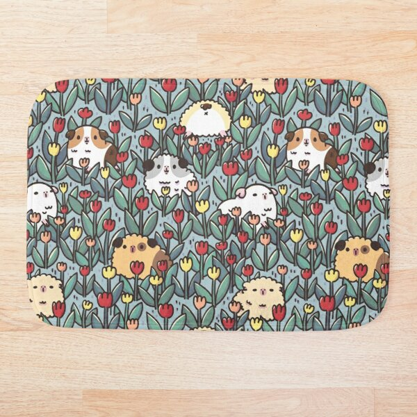 Teddy Guinea pigs and Flowers Pattern Bath Mat