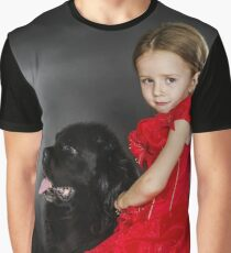 Beauty and the Beast. Little girl with big black water-dog portrait, isolated on grey Graphic T-Shirt