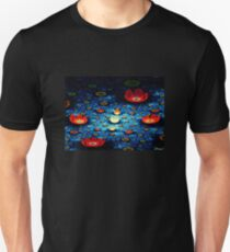 Red Lillies on the Water Pond Unisex T-Shirt