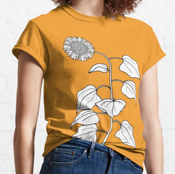 Sunflower Plant Line Drawing Classic T-Shirt