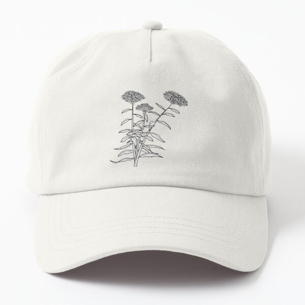 Orange Butterfly Weed Flower Plant Line Drawing Dad Hat