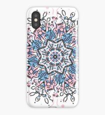 illustration circle or round Mandala with color black, pink and blue iPhone Case