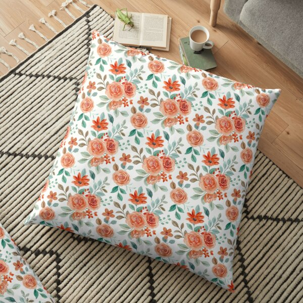 Lovely Coloured Roses and Flowers Watercolour Drawing Pattern Floor Pillow