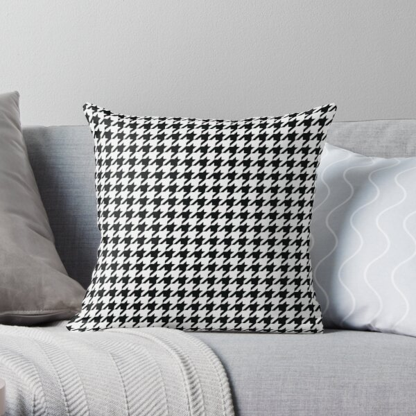 Houndstooth Black and White Pattern Throw Pillow