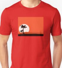 Retro holiday red background with sunset and palm silhouette Unisex T-Shirt