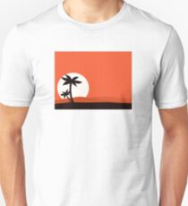 Retro holiday red background with sunset and palm silhouette T-Shirt