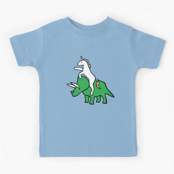 Unicorn Riding Triceratops Kids T-Shirt