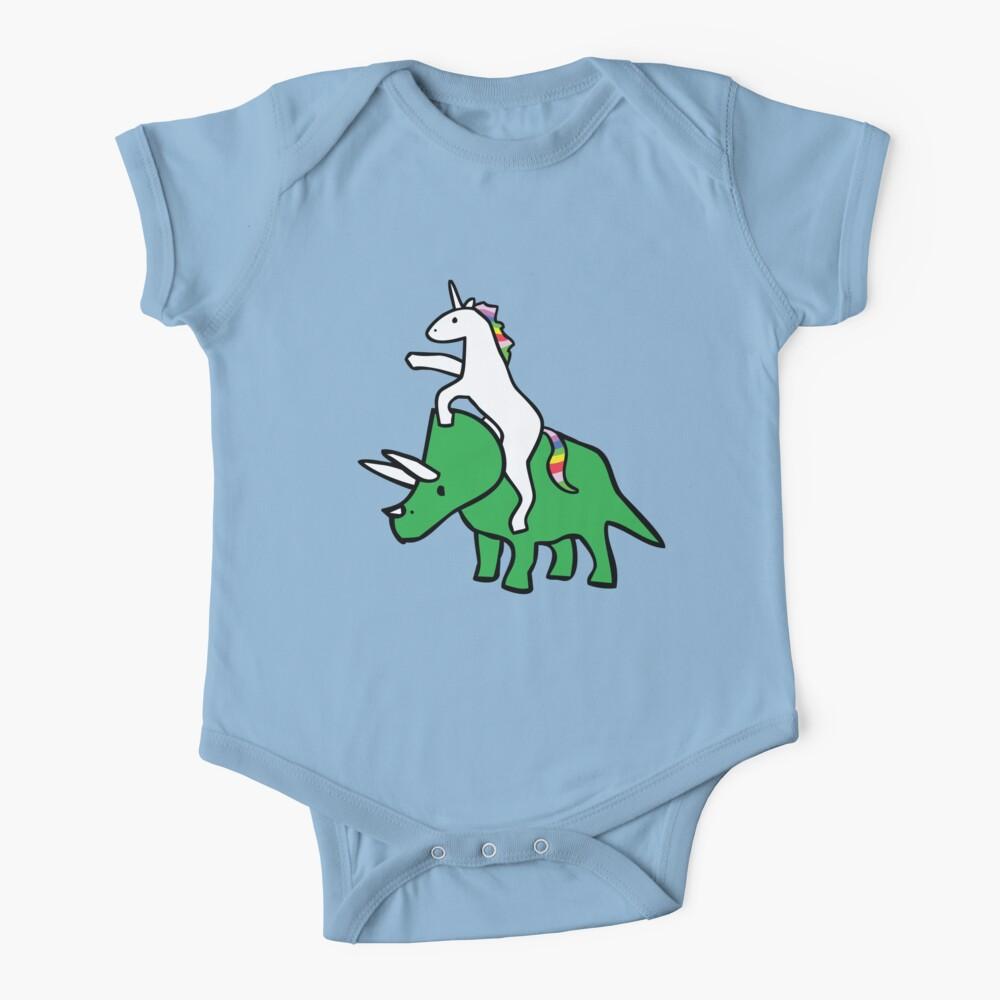 Unicorn Riding Triceratops Baby One-Piece