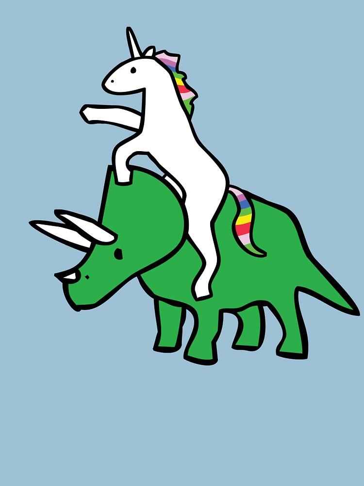 Unicorn Riding Triceratops | Unisex T-Shirt