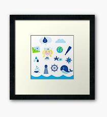 Nautic, sailor and adventure icons - blue Framed Print