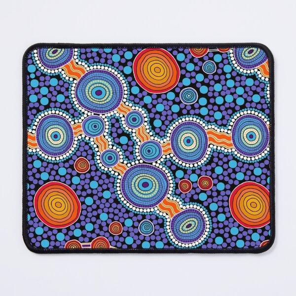 Authentic Aboriginal Art - The Journey Blue Mouse Pad