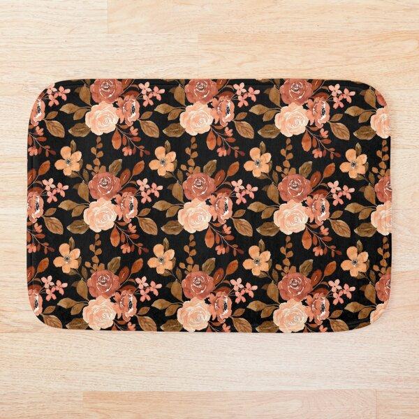 Vintage Flower Watercolour Pattern Bath Mat