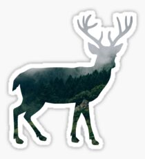 Buck Deer with Misty Evergreen Forest Woods Silhouette - Spirit of the Wild .  Sticker