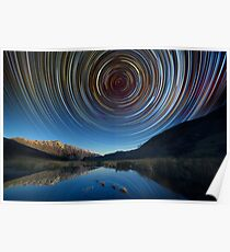 Queenstown star trails reflection Poster