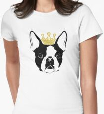 Boston Terrier with Crown Women's Fitted T-Shirt