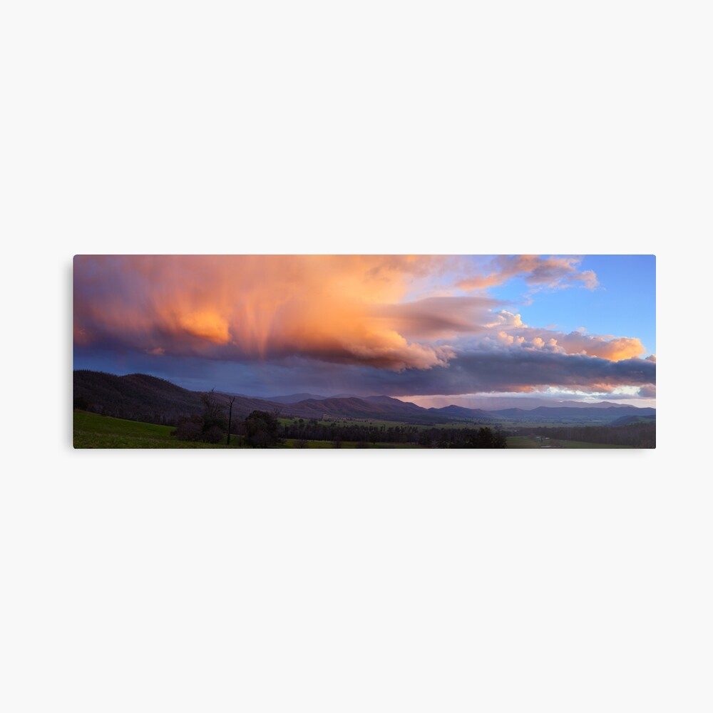 Stormy Sunset over Happy Valley, Myrtleford, Victoria, Australia Metal Print