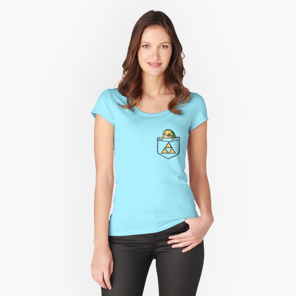 Leyenda de Zelda - Enlace de bolsillo Camiseta entallada de cuello ancho