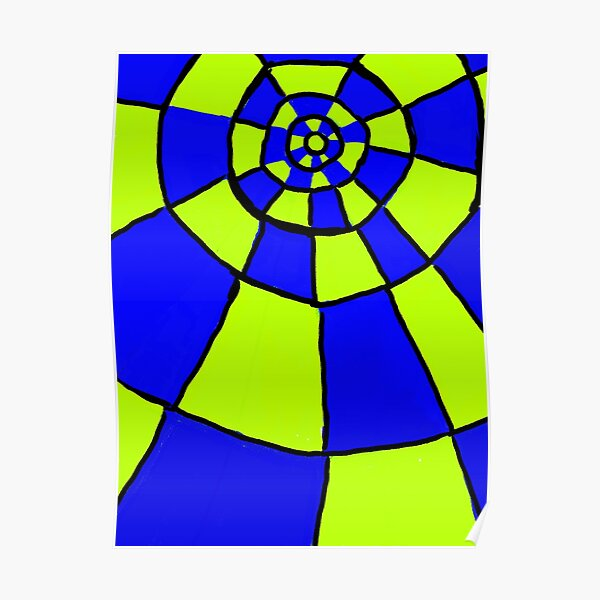 Blue And Lime Circles Pattern Poster