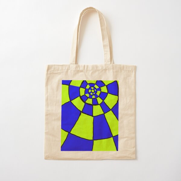 Blue And Lime Circles Pattern Cotton Tote Bag