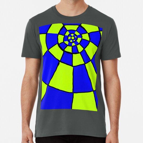 Blue And Lime Circles Pattern Premium T-Shirt