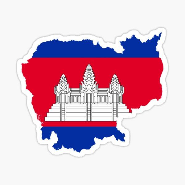 Cambodia Flag Map Sticker