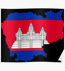 Cambodia Flag Map Poster