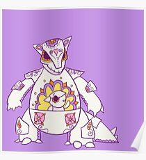 Kangaskhan Popmuerto   Pokemon & Day of The Dead Mashup Poster