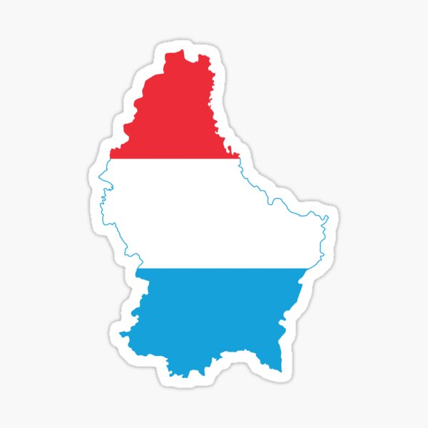 Luxembourg Flag Map Sticker