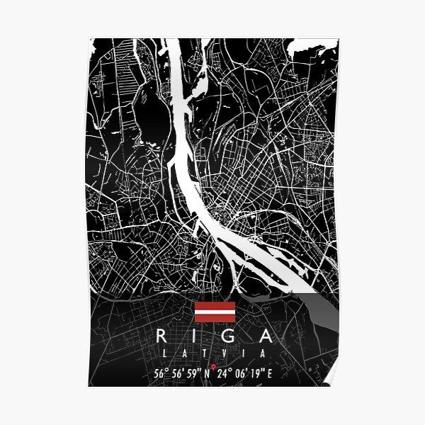 RIGA MAP LATVIA Poster