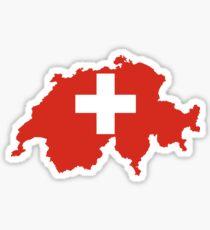 Switzerland Flag Map Sticker