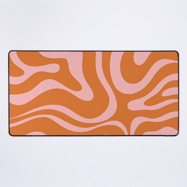 Liquid Swirl Retro Abstract Pattern in Orange and Pink Desk Mat