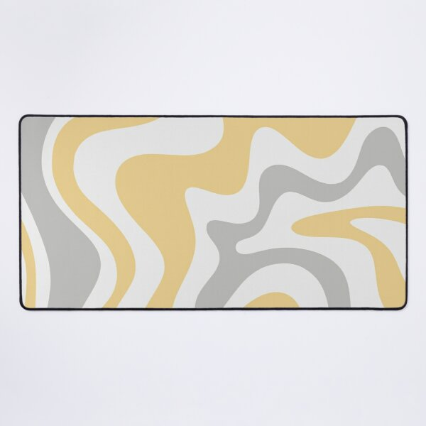 Liquid Swirl Contemporary Abstract in Pale Grey and Light Mustard Yellow Desk Mat