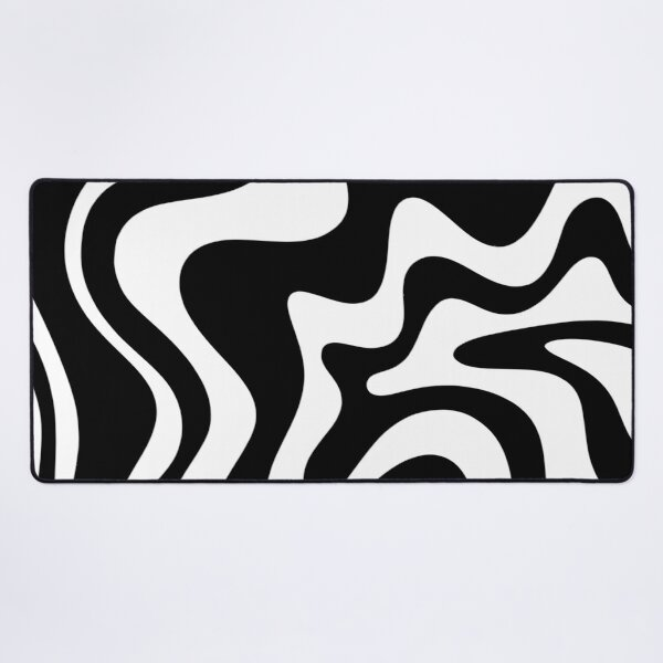 Liquid Swirl Modern Abstract Pattern in Black and White Desk Mat