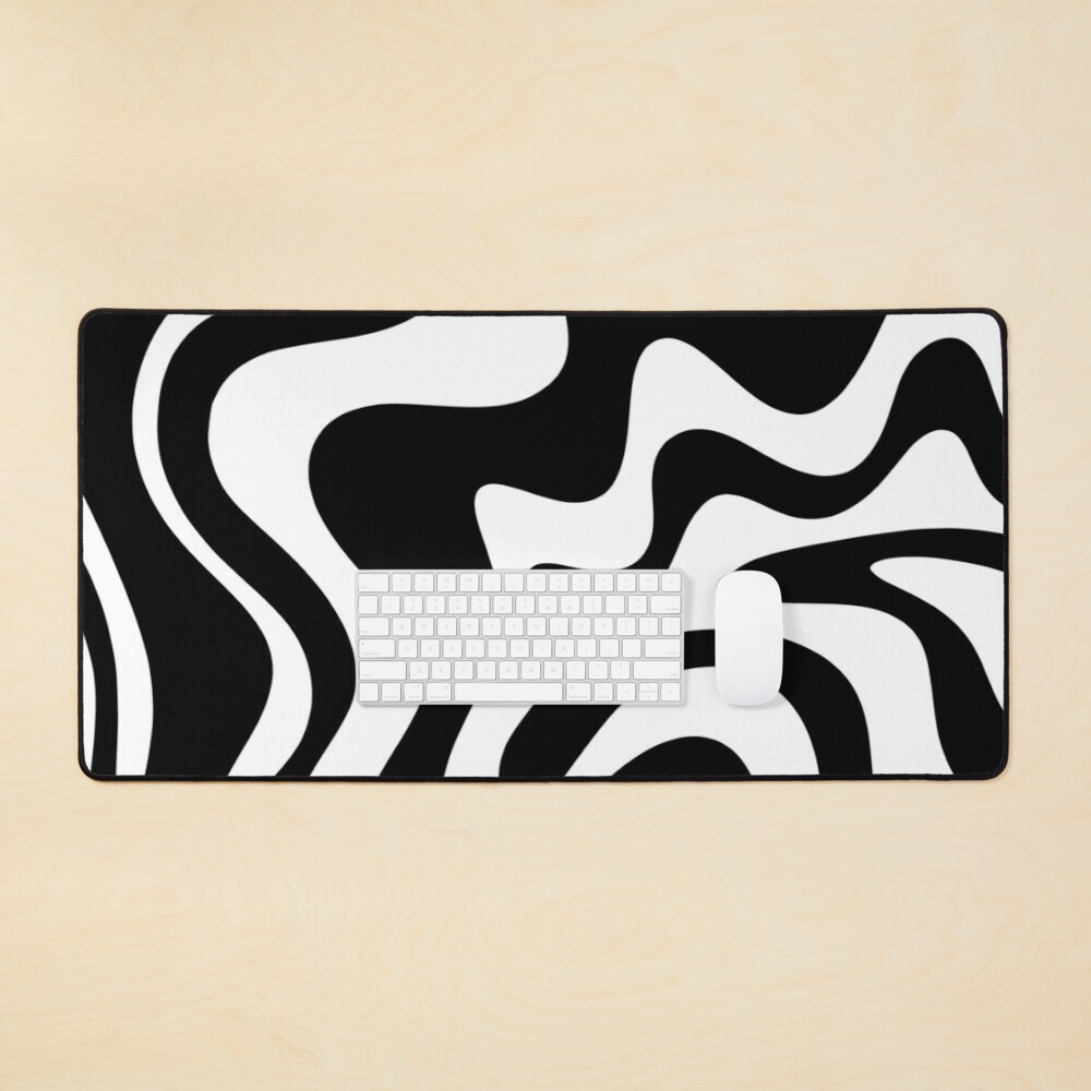Liquid Swirl Modern Abstract Pattern in Black and White Mouse Pad